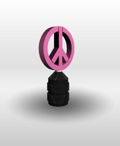 Schrader Valve Stem Cap Peace Sign